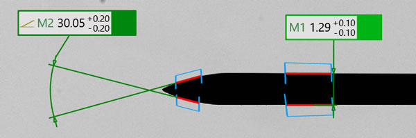 The needle angle tip and diameter are accurately measured with our Horus software
